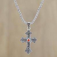 Amazonite pendant necklace, 'Gothic Faith' - Amazonite and Silver Cross Pendant Necklace from Thailand
