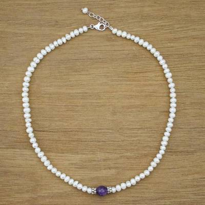 Cultured pearl and amethyst beaded necklace, 'Amethyst Romance' - Cultured Pearl and Amethyst Beaded Necklace from Thailand