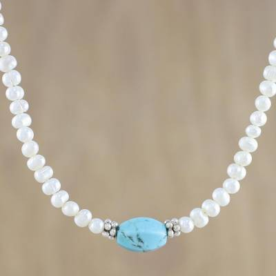 Cultured pearl beaded necklace, 'Turquoise Romance' - Cultured Pearl Beaded Necklace from Thailand