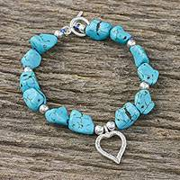 Silver beaded bracelet, 'Romantic Hope' - Karen Silver and Calcite Heart Bracelet from Thailand