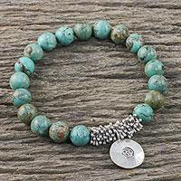Silver charm bracelet, 'Mossy Charm' - Karen Silver Beaded Om Bracelet from Thailand