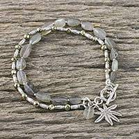 Labradorite beaded bracelet, 'Beach Tree' - Labradorite Tree-Themed Beaded Bracelet from Thailand