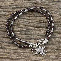 Garnet beaded bracelet, 'Beach Tree' - Garnet and Silver Tree-Themed Beaded Bracelet from Thailand