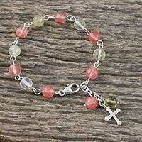 Beaded quartz bracelet, 'Sweet Cross' - Beaded Karen Silver Cross Bracelet from Thailand