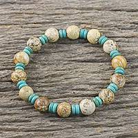 Jasper and calcite beaded stretch bracelet, 'Beach Holiday' - Jasper and Calcite Beaded Stretch Bracelet from Thailand