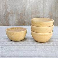 Wood bowls, 'Family Dining' (16 ounce, set of 4)