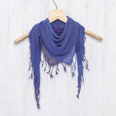 Silk scarf, 'Imperial Night' - Handwoven Blue and Purple Fringed Silk Scarf from Thailand