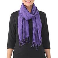 Silk scarf, 'Regalia' - Handwoven Imperial Purple Pintucked Scarf from Thailand