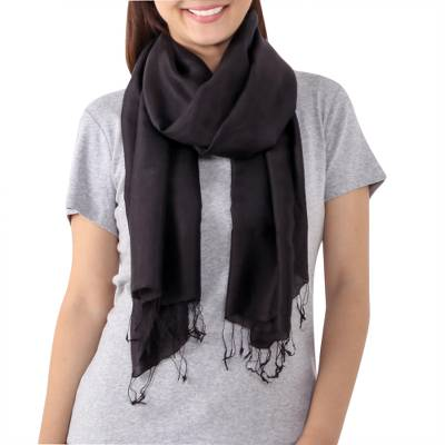 Fringed Silk Wrap Scarf in Solid Black from Thailand