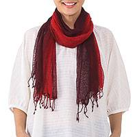 Silk scarf, 'Passion Embers' - Handwoven Crimson and Maroon Silk Scarf from Thailand