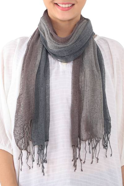 Silk scarf, 'Approaching Storm' - Artisan Handwoven Grey Fringed Silk Scarf from Thailand