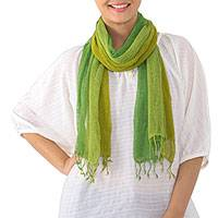 Silk scarf, 'Sour Candy' - Artisan Handwoven Fringed Green Silk Scarf from Thailand