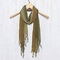 Silk scarf, 'Olive Woodlands'