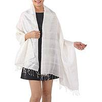 Silk shawl, 'Light Breeze' - Artisan Handwoven Warm White Silk Shawl from Thailand