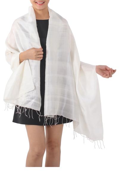 Silk shawl, 'Light Breeze' - Artisan Handwoven Warm White Silk Shawl from Thailand