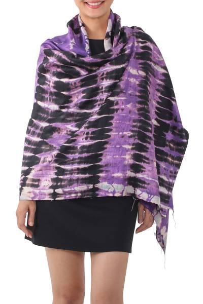 Tie-dye silk shawl, 'Purple Monarch' - Handwoven Black and Purple Tie-Dye Silk Shawl from Thailand