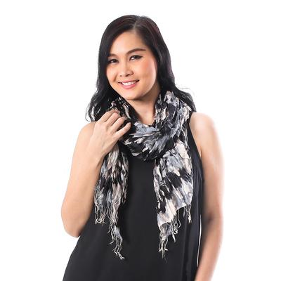 Tie-dye silk shawl, 'Monochrome Monarch' - Handwoven Black and Grey Tie-Dye Silk Shawl from Thailand