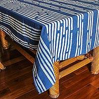 Cotton batik tablecloth, 'Bamboo Forest' (59x79) - Blue and White Hill Tribe Batik Tablecloth (59x79)