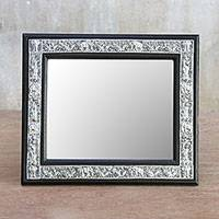 Wood and embossed metal mirror, 'Nature Reflection' - Rain Tree Wood and Engraved Nickel Mirror from Thailand