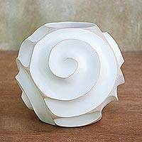 Wood decorative vase, 'White Spiral' - Spiral Motif Wood Decorative Vase in White from Thailand