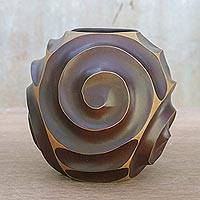 Wood decorative vase, 'Earth Spiral' - Spiral Motif Wood Decorative Vase in Brown from Thailand