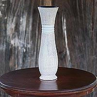 Wood decorative vase, 'Gift of Nature in White' - Lacquer Mango Wood Decorative Vase in White from Thailand