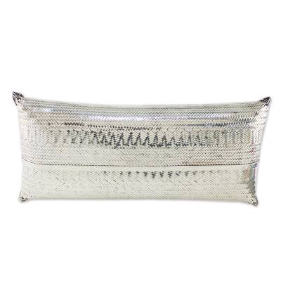 Silver plated clutch, 'Silver Nights' - Woven Silver Plated Brass Clutch from Thailand