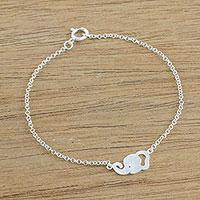 Sterling silver pendant bracelet, 'Elephant Grin' - Sterling Silver Elephant Pendant Bracelet from Thailand