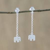 Sterling silver dangle earrings, 'Cute Elephants' - Sterling Silver Elephant Chain Dangle Earrings from Thailand