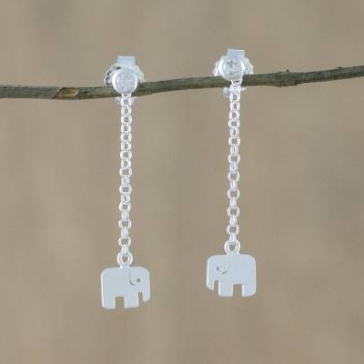 Novica Sterling silver dangle earrings, Sweet Elephants - Sterling Silver Dangle Earrings