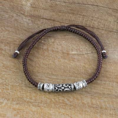 Silver beaded cord bracelet, Ancient Aura