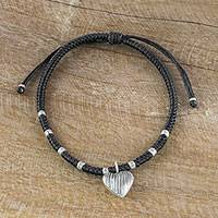 Silver charm bracelet, 'Ancient Heart in Black' - Hill Tribe Heart Charm Bracelet with 950 Silver