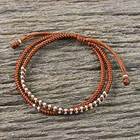 Silver beaded cord bracelet, 'Everyday Thai in Burnt Sienna' - Burnt Sienna Cord Bracelet with Silver Beads