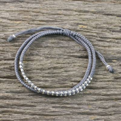 Silver beaded cord bracelet, 'Everyday Thai in Steel Grey' - 950 Silver and Waxed Cord Bracelet from Thailand