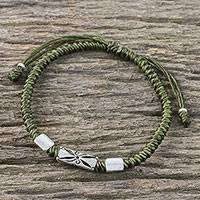 Silver pendant bracelet, 'Karen Triangle in Olive' - Hand Braided Olive Cord Bracelet with Silver Pendants
