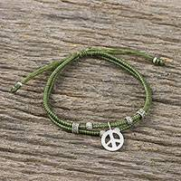 Silver beaded cord bracelet, 'Lucky Peace' - Olive Colored Cord Beaded Bracelet with Silver Peace Charm