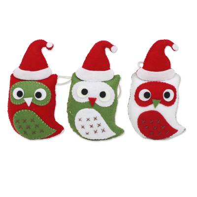 Felt Christmas ornaments, 'Wise Young Owls' (set of 3) - Felt Owl Christmas Ornaments Set of 3 from Thailand