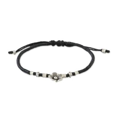 Silver accent cord bracelet, 'Ancient Bloom' - Handmade Cord Bracelet with Karen Silver Floral Charm