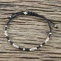 Silver accent cord bracelet, 'Petite Heart' - Handmade Cord Bracelet with Karen Silver Heart Charm