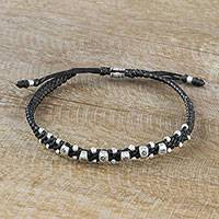Silver accent wristband bracelet, 'Karen Symmetry' - Handmade Braided Wristband Bracelet with Karen Silver Beads