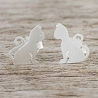 Sterling silver stud earrings, 'Waiting for Love'