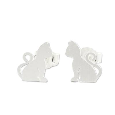 Brushed Silver Cat Stud Earrings from Thai Artisan