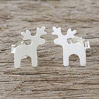 Sterling silver stud earrings, 'Lovely Deer' - Sterling Silver Deer Earrings with Brushed Finish