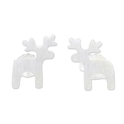 Sterling silver stud earrings, 'Lovely Deer' - Sterling Silver Deer Earrings with Brushed Finish