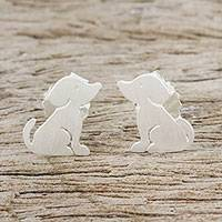 Sterling silver stud earrings, 'Irresistible Pups'