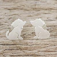 Sterling silver stud earrings, 'Irresistible Pups' - Cute Sterling Silver Puppy Dog Stud Earrings