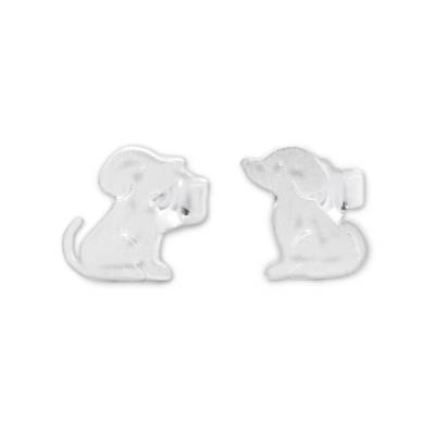 Sterling silver stud earrings, 'Irresistible Pups' - Cute Sterling Silver Puppy Dog Stud Earrings