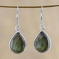 Labradorite dangle earrings, 'Aura of Energy' - Classic Teardrop Shaped Labradorite Dangle Earrings
