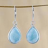 Larimar dangle earrings, 'Gossamer Sky' - Artisan Designed Larimar and Sterling Dangle Earrings