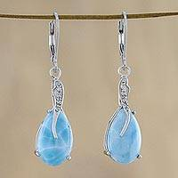 Larimar dangle earrings, 'Transcendental Sky' - Larimar Cabochon and CZ Dangle Earrings